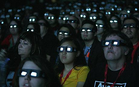 Audience enjoys recent film in 3-D with IMAX glasses in the theatre