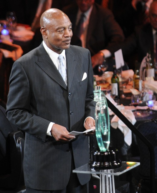 Former Cleveland Browns receiver, Reggie Rucker, is seen presenting the Lifetime Achievement Award at the 2011 Greater Cleveland Sports Awards.
