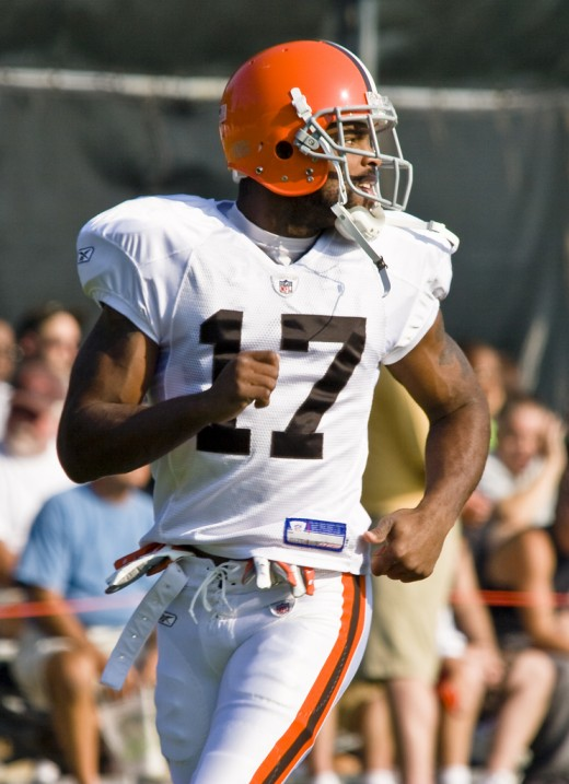 Former Cleveland Browns receiver, Braylon Edwards, is pictured during the 2008 preseason.