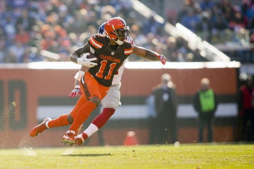 Browns wide receiver Terrelle Pryor runs up the field after a reception against the Giants in 2016. He gained 1,007 receiving yards that season.