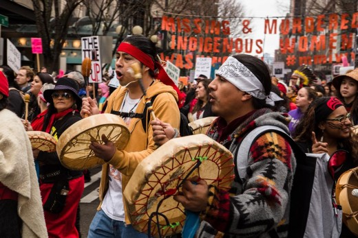 Native American tribes march to raise awareness for the Missing and Murdered Indigenous Women movement. Photo courtesy of Real Change News.