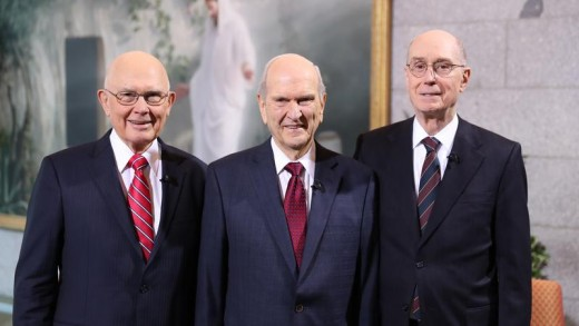 Left to Right, Dallin H. Oaks, Russell M. Nelson, and Henry B. Eyring
