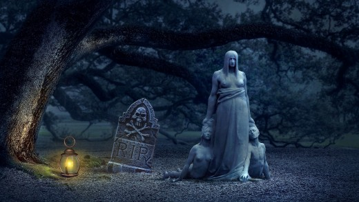 Ghosts in a cemetery