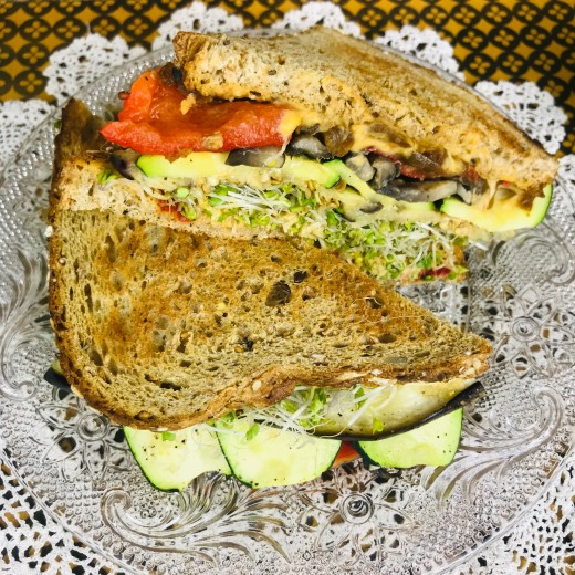 Here is the sandwich, nicely layered and looking scrumptious!