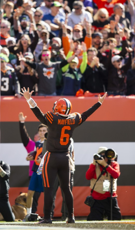 Cleveland Browns quarterback Baker Mayfield celebrates a touchdown against the Seattle Seahawks during the 2019 season. Though only in his second season, the hope Mayfield has brought to the Browns already has him among the team's best of all-time.