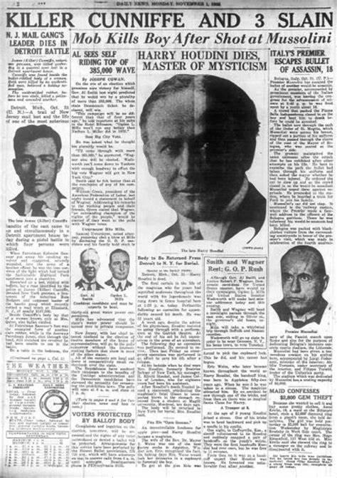 Newspaper announcing death of Harry Houdini