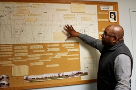Dep. Chief Stephen Dorsey explains timeline of Tricia Reitler's disappearance using a board that tracks the police investigation the last 26 years. Photo courtesy of Chronicle Tribune.