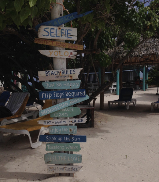 A sign on the island.