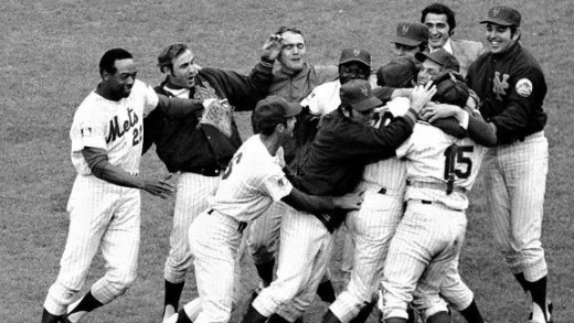 The 1969 Mets celebrating their World Series victory. In far left is #22 Donn Clendenon, the last player to join the Mets roster in mid-season and winner of the series MVP award.