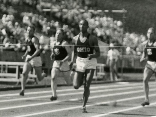 "Jesse Owens moments before clearing the finish line for Ohio State University. A year before his triumph at the 1936 Olympics, the college sophomore achieved the ""greatest 45 minutes in sports"".  The Ohio State University Archiv"