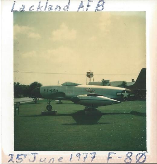 A F-80 at Lackland AFB, TX, 1977.