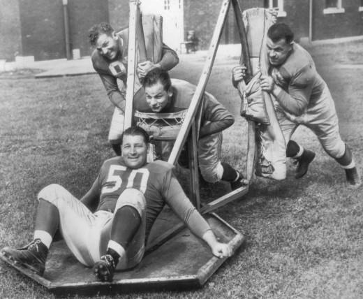 Alex Wojciechowicz (50) is pictured with fellow linemen Emil Uremovich, Frank Szymanski, and Stan Batinski in a 1946 Associated Press photo.