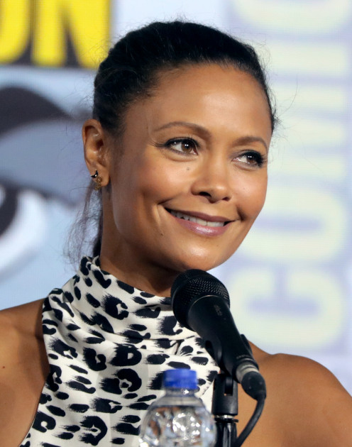 Actress Thandie Newton speaks at the 2019 San Diego Comic Con International in San Diego, California in July 2019.