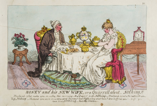 """Napoleon's marriage to Marie Louise of Austria, """" a Quarrell about Nothing!!"""" (1810) from a golden age of satire"""