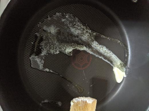 butter in frying pan