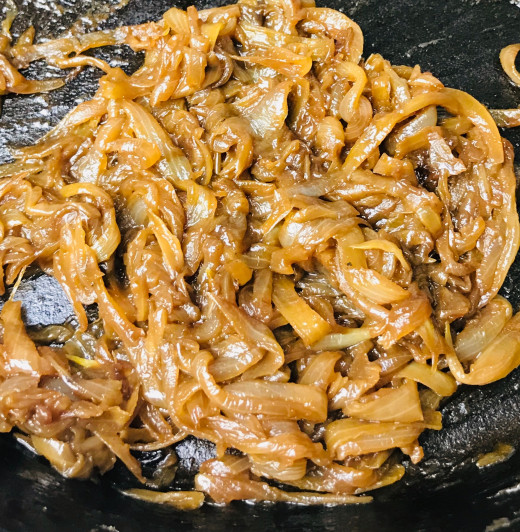 If you don't already have caramelized onions laying around, you're going to want to start them first because they take the longest to do. Here is the finished product after about 90 minutes of cooking.