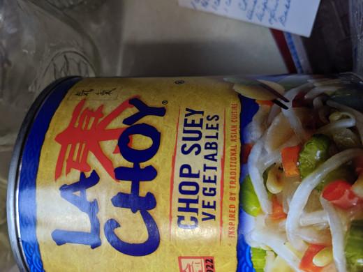 Chop suey vegetables plus the water