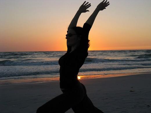 Yoga at sunset, by akalat.