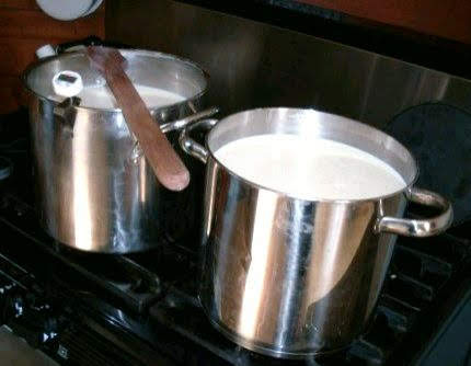 I am working with eight gallons of milk. Don't let this amount scare you--you can use however much you want. Heat the milk to 180* F., stirring often to keep it from scorching.