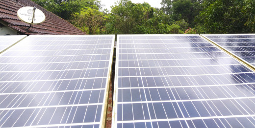 Outdoor solar photovoltaic panels