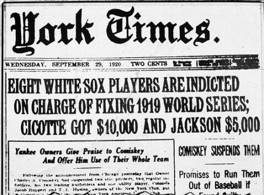 Towards the end of the baseball season in 1920, eight members of the Chicago White Sox franchise were implicated in fixing the 1919 World Series.