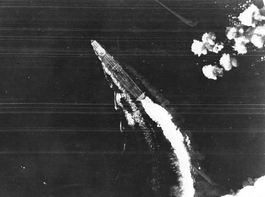 The Japanese carrier Hiryu under attack from B-17s, June 4, 1942.