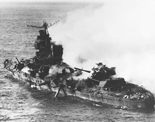 The Japanese cruiser Mikuma sinking, June 6, 1942.