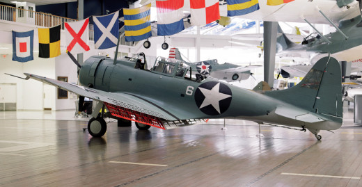 An SBD-2 that was heavily damaged during the attack on the Hiryu at the Naval Aviation Museum, Pensacola, Florida.