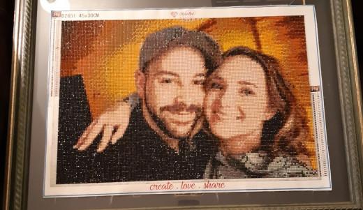 a custom diamond painting of a couple