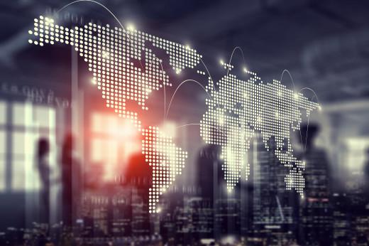 International business partnership. Mixed media - Image