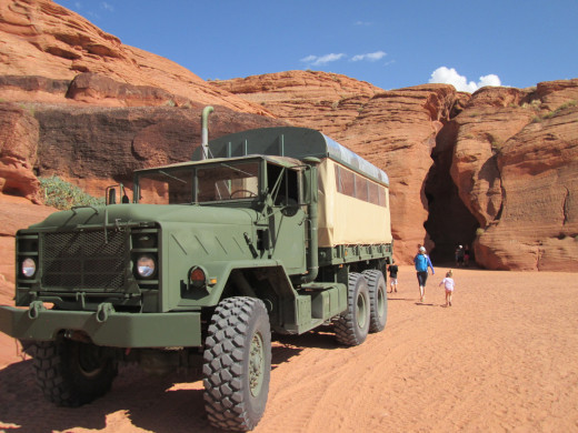 One of the trucks that ferries tourists from the parking area to the entrance of Upper Antelope Canyon