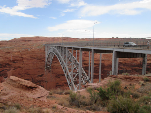 US 89 bridge at the mouth of Glen Canyon Dam (out of view on left)