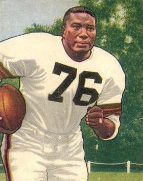 Marion Motley, American football fullback, on a 1950 Bowman football card.