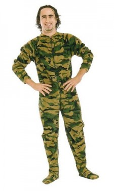 For the macho man with cold tootsies: footie pajamas in camo!