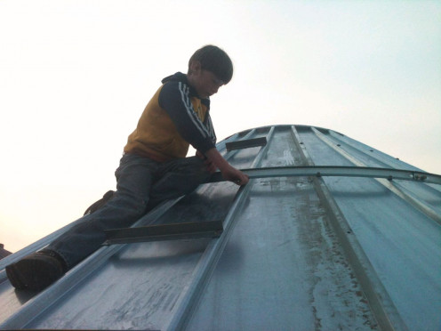 Building grain bins has been an important part of our lives, as my husband is a sheet metal contractor.