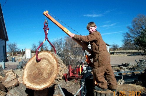 Processing firewood is a necessary winter activity, requiring several kinds of skills with different tools. In this case, a hoist makes the job much safer and simpler.