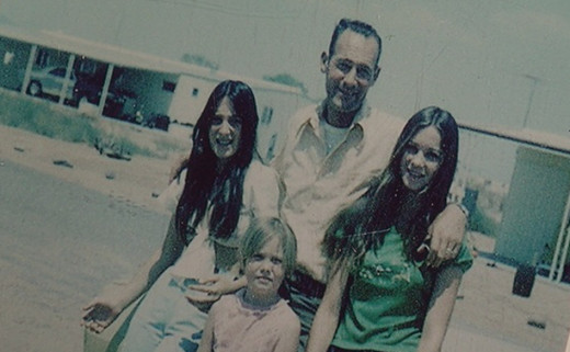 Jack Leslie with his daughters Jackie (left) and Cynthia (right) who vanished in 1974.