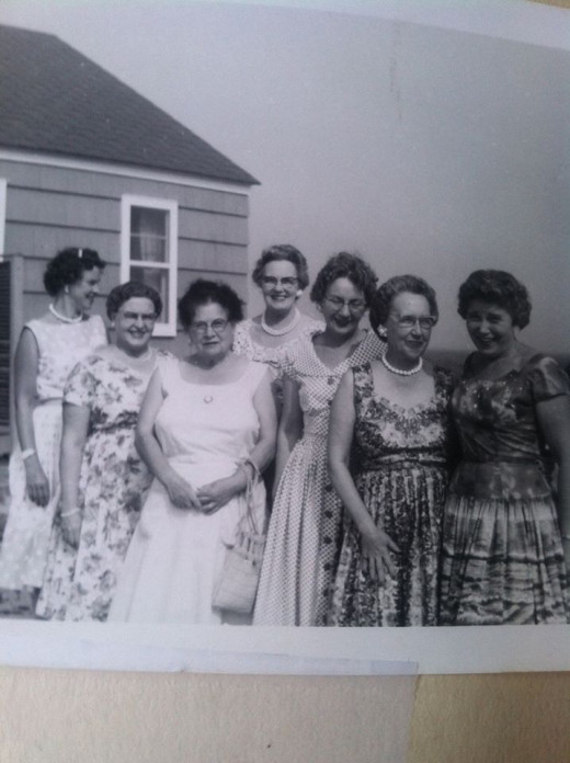 Grandma Jennie (third from the left with white dress) and her bridge club.