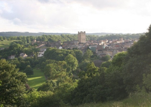 Richmond from the north, with the famous castle keep that punctuates the landscape