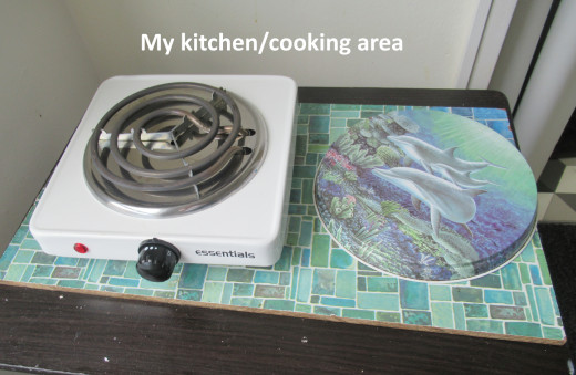 My cooking area - it's all I need, and it works perfectly. It's easy to keep clean as well!