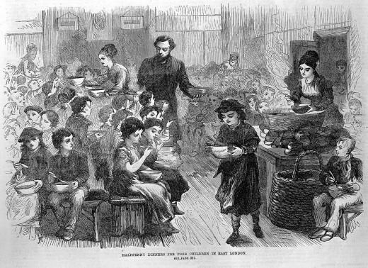 Halfpenny dinners for poor children in Victorian London.