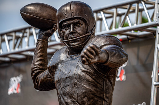 The statue of Hall of Fame quarterback, Otto Graham, stands outside FirstEnergy Stadium in Cleveland. Graham was the first quarterback for the Cleveland Browns and remains the greatest ever to play for the franchise.