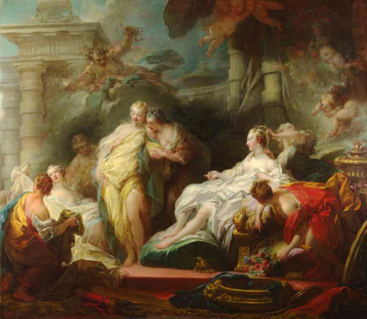 Psyche showing her Sisters her Gifts from Cupid, Painting by Jean-Honoré Fragonard