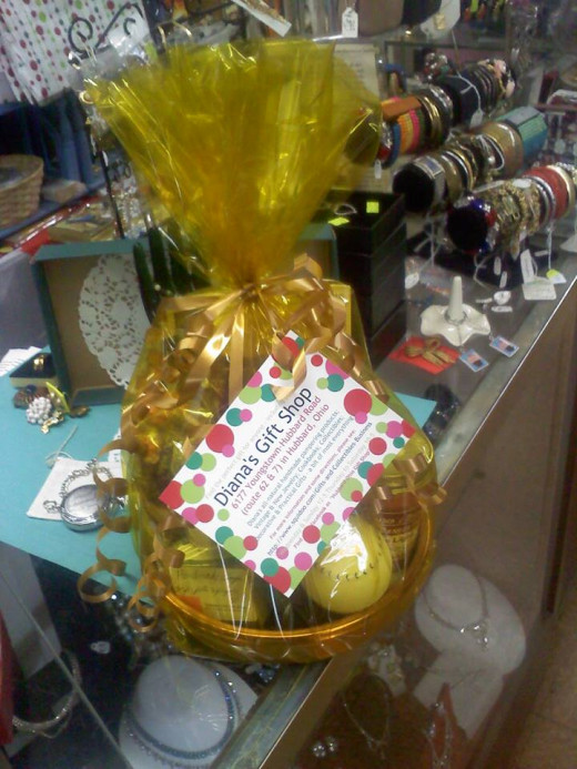 One example of a gift basket all made up.