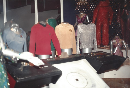 Uniforms and other costumes at a special Star trek exhibit at the National Air & Space Museum.
