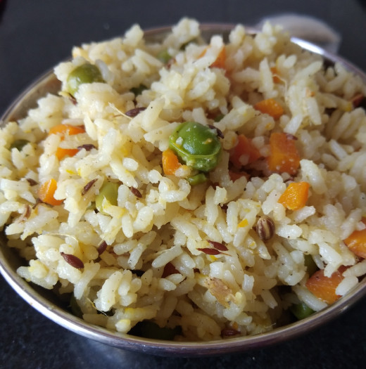 Tasty and healthy vegetable pulao is ready to eat. Serve with raita, pickle or as it is.