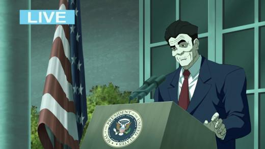 President Ronald Regan as portrayed in Batman: The Dark Knight Returns.
