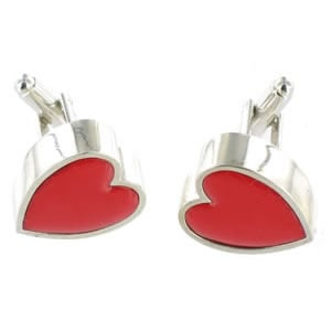Heart cufflinks that flash on and off - a cheesy way to celebrate your love!