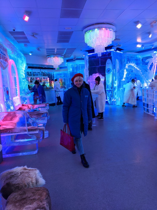 My Wife in the Minus 5° ICE EXPERIENCE - Blue Coats are the $17 experience & White Outfits the $45 experience with an  ice cocktail