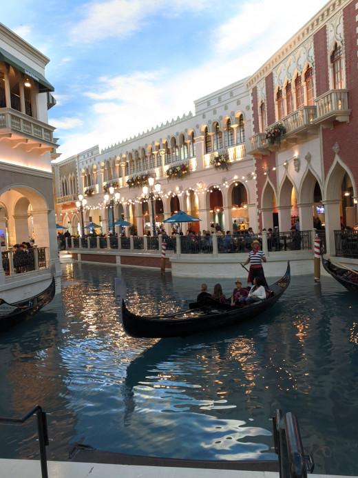 Gondola on canal inside Venetian Resort in Las Vegas